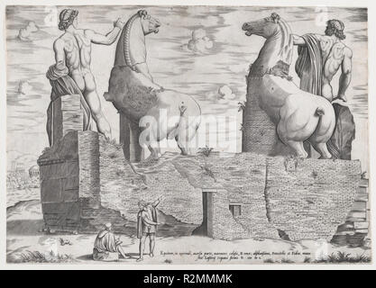 View of the Back of Statues of the Dioscuri at the Quirinal. Artist: Anonymous. Dimensions: sheet: 13 11/16 x 19 5/16 in. (34.7 x 49 cm). Publisher: Antonio Lafreri (French, Orgelet, Franche-Comte ca. 1512-1577 Rome). Series/Portfolio: Speculum Romanae Magnificentiae. Date: 1550.  Published as part of Antonio Lafreri's Speculum Romanae Magnificentiae (The Mirror of Roman Magnificence).  It is likely that individuals who purchased the prints from Lafreri made their own selections and had them bound. For a history of the publication of the Speculum prints, see Peter Parshall, 'Antonio Lafreri's  - Stock Photo