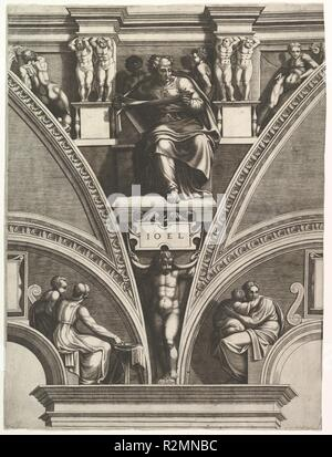 The Prophet Joel; from the series of Prophets and Sibyls in the Sistine Chapel. Artist: After Michelangelo Buonarroti (Italian, Caprese 1475-1564 Rome); Giorgio Ghisi (Italian, Mantua ca. 1520-1582 Mantua). Dimensions: Sheet (Trimmed): 22 5/16 × 16 11/16 in. (56.7 × 42.4 cm). Publisher: Pietro Facchetti (Italian, Mantua 1535-1619 Rome). Date: 1570-75.  As explained by Boorsch (in Boorsch, Lewis and Lewis 1985, p. 164) the dates of 1540 and 1549 engraved on some of the plates from the series is false. The plates should rather be dated to the early 1570s. Museum: Metropolitan Museum of Art, New  - Stock Photo