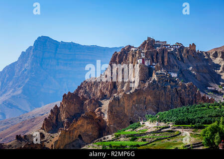 Dhankar gompa monastery on cliff in Himalayas, India - Stock Photo