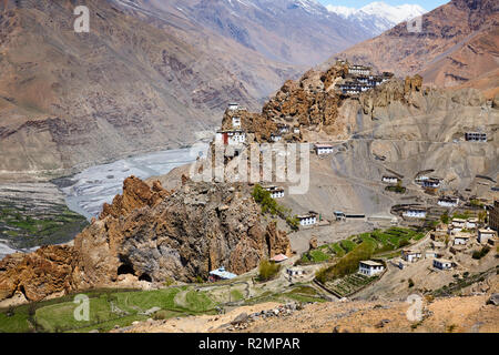 Dhankar Gompa Monastery in Himalayas - Stock Photo