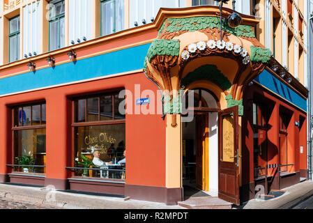 Cafe Chez Olivier. Art nouveau architecture in Riga. Riga, Latvia, Baltic states, Europe. - Stock Photo