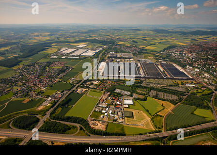Aerial view, Volkswagen stock company Kassel plant Kassel Baunatal, automobile factory VW plant, automotive, aerial view, An den Rehäckern 24, Kassel, Hesse, Germany, Europe, - Stock Photo
