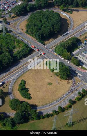Aerial view, A40 closure, Ruhrschnellweg, cultural capital 2010 Essen, RUHR.2010 - Still Life on the A40, Duisburg, Ruhr Area, North Rhine-Westphalia, Germany, Europe, - Stock Photo