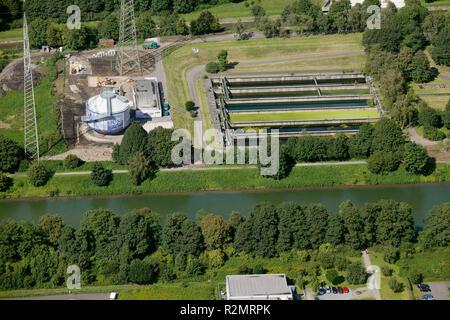 Aerial view, Emscher, Art, Silke Wagner Glückauf miners' protests in the Ruhr area digestion tank, Recklinghausen, Emscherkunst.2010, art works at the Emscher, Ruhr area, North Rhine-Westphalia, Germany, Europe, - Stock Photo