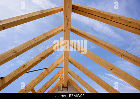 Roof structure on a new building - Stock Photo