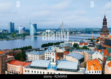 Riga old town from St. Peter's Church. The two banks of river Daugava, Latvia, Baltic states, Europe. - Stock Photo