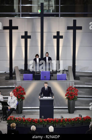 Berlin, Germany. 18th Nov, 2018. French President Emmanuel Macron speaks in the Bundestag at the Central Memorial Ceremony for the Memorial Day. Credit: Michael Kappeler/dpa/Alamy Live News - Stock Photo