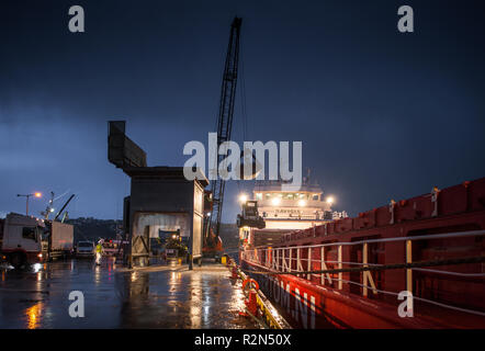 Ship Cargo Hold Loading And Unloading Of Large Rolls Of