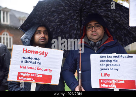 Houses of Parliament,, London, UK. 20th November 2018. Highly skilled professional migrants stage a demonstration opposite the Houses of Parliament. Credit: Matthew Chattle/Alamy Live News - Stock Photo