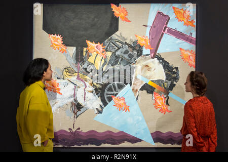 London, UK.  20 November 2018. Staff members view an artwork at the preview of 'Accumulation:  Legacy and Memory', an exhibition presented by Art Bahrain Across Borders during Bahrain Art Week.  Works from 11 emerging and established Bahraini artists is on display 20th to 26 November at Alon Zakaim Fine Art gallery in Mayfair. Credit: Stephen Chung / Alamy Live News - Stock Photo