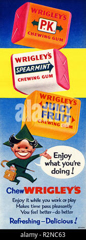Original 1950s vintage old print advertisement from English magazine advertising Wrigley's chewing gum circa 1954 - Stock Photo