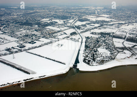 Aerial view, Emscher estuary, Rhine, flood, snow, Emscher, Emscher course, Dinslaken, North Rhine-Westphalia, Germany, Europe, - Stock Photo