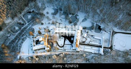 Aerial view, Snow, Winter, Schnellenberg castle, Attendorn, North Rhine-Westphalia, Germany, Europe, - Stock Photo