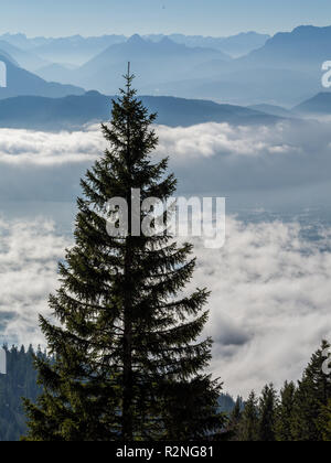 Panorama of beautiful low clouds over Lakes with blue mountains in background, trees in foreground