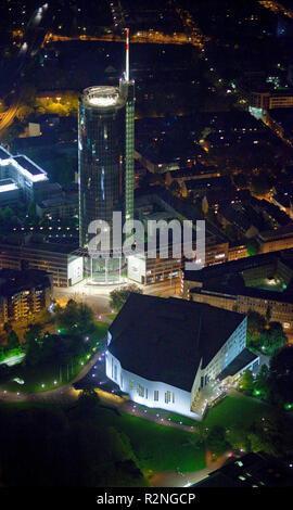 Aerial view, night shot, philharmonic hall, Aalto Theater and RWE skyscraper at night, Essen, Ruhr area, North Rhine-Westphalia, Germany, Europe, - Stock Photo