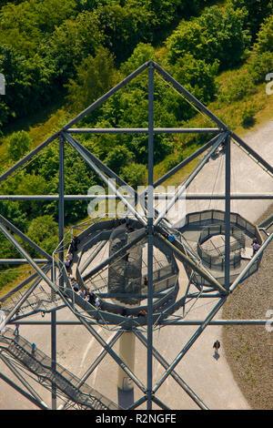 Aerial view, Tetrahedron Bottrop, Schachtzeichen Ruhr2010, view over former mines, European cultural capital 2010, Bottrop, Ruhr Area, North Rhine-Westphalia, Germany, Europe, - Stock Photo