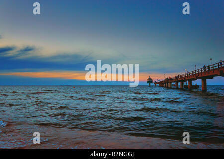 Panorama from the Baltic Pier in Zinnowitz on the island Usedom in Germany. - Stock Photo