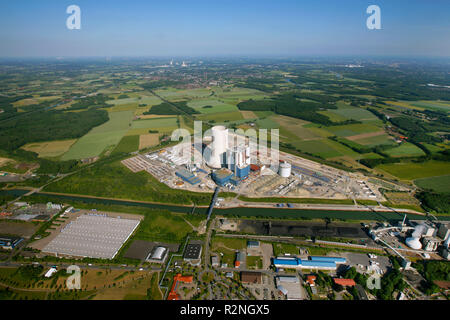 EON Datteln4 coal power station, construction freeze, boiler house, cooling tower, Dortmund-Ems-Kanal, Datteln, Ruhr area, North Rhine-Westphalia, Germany, Europe, - Stock Photo