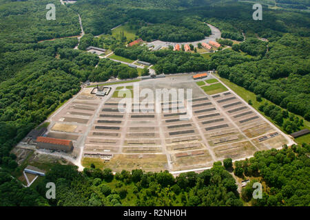 Aerial view, former Buchenwald Concentration Camp near Weimar, concentration camp, Weimar, Thuringia, Germany, Europe, - Stock Photo