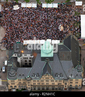 City Hall, Town Hall Square, Public Viewing Opening Match Germany - Australia 4: 0 World Cup 2010, Recklinghausen, Ruhr Area, North Rhine-Westphalia, Germany, Europe, Aerial View, - Stock Photo