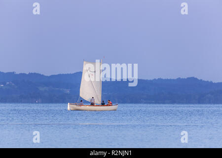 Sailboat on the Chiemsee, Übersee, Chiemgau, Upper Bavaria, Bavaria, southern Germany, Germany, Europe - Stock Photo