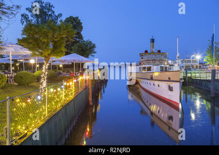 Mooring of the paddle steamer Ludwig Fessler in Prien am Chiemsee, Chiemgau, Upper Bavaria, Bavaria, Southern Germany, Germany - Stock Photo