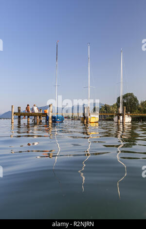 Sailboats on the Chiemsee in front of the Chiemgau Alps, Prien, Chiemgau, Upper Bavaria, Bavaria, southern Germany, Germany, Europe - Stock Photo