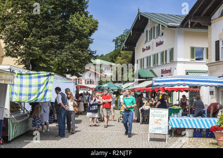 farmer's market on the market square in Prien am Chiemsee, Chiemgau, Upper Bavaria, Bavaria, southern Germany, Germany, Europe - Stock Photo