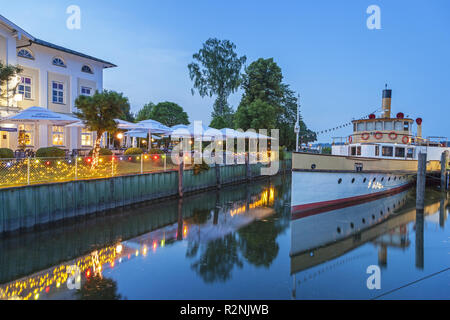 Mooring of the paddle steamer Ludwig Fessler in Prien am Chiemsee, Chiemgau, Upper Bavaria, Bavaria, southern Germany, Germany, Europe - Stock Photo