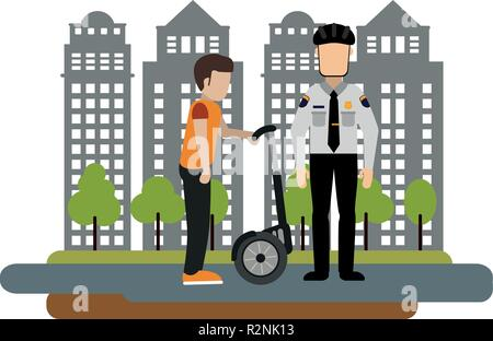 Police fines a man with hover board at city vector illustration graphic design - Stock Photo