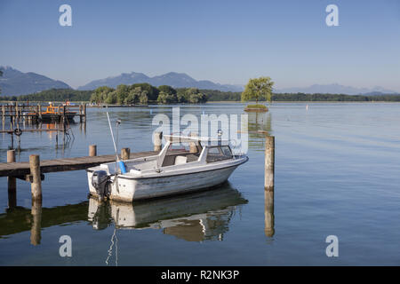 View of the Chiemsee and the Chiemgau Alps from the Fraueninsel, Frauenchiemsee, Chiemsee, Chiemgau, Upper Bavaria, Bavaria, southern Germany, Germany, Europe - Stock Photo