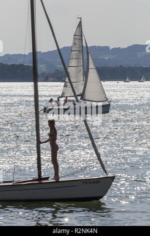 View from the Fraueninsel on sailors on the Chiemsee, Frauenchiemsee, Chiemsee, Chiemgau, Upper Bavaria, Bavaria, southern Germany, Germany, Europe - Stock Photo