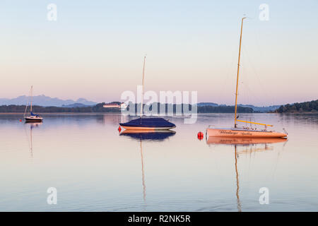 View from Fraueninsel to Herrenchiemsee, Frauenchiemsee, Chiemsee, Chiemgau, Upper Bavaria, Bavaria, southern Germany, Germany, Europe - Stock Photo