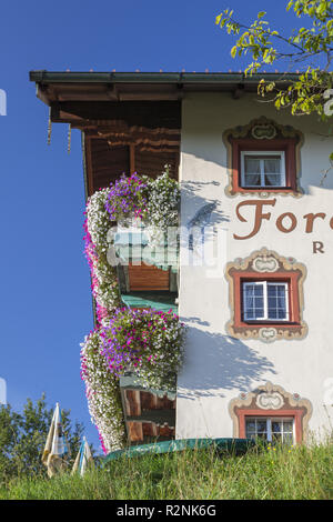 Restaurant Forellenhof in Eisenärzt near Siegsdorf, Chiemgau, Upper Bavaria, Bavaria, Southern Germany, Germany, Europe - Stock Photo