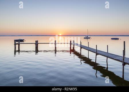 Sunrise at Chiemsee, Fraueninsel, Frauenchiemsee, Chiemgau, Upper Bavaria, Bavaria, southern Germany, Germany, Europe - Stock Photo