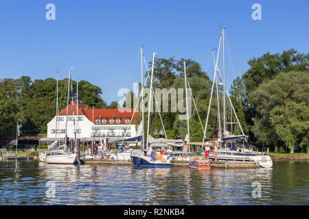 View to the Inselwirt on the Fraueninsel in the Chiemsee, Frauenchiemsee, Chiemgau, Upper Bavaria, Bavaria, southern Germany, Germany, Europe - Stock Photo