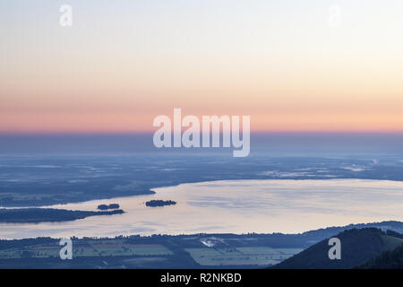 View from the Piesenhauser alp to the Chiemsee, Chiemgau Alps, Marquartstein, Chiemgau, Upper Bavaria, Southern Germany, Germany, Europe - Stock Photo