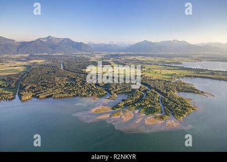 Flight over the Chiemsee with view of the delta of the Tiroler Ache, Chiemgau, Upper Bavaria, Bavaria, Southern Germany, Germany, Europe - Stock Photo