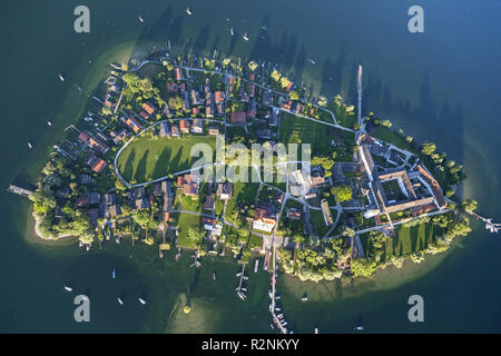 Flight over the Chiemsee with view of the Fraueninsel, Chiemgau, Upper Bavaria, Bavaria, Southern Germany, Germany, Europe - Stock Photo