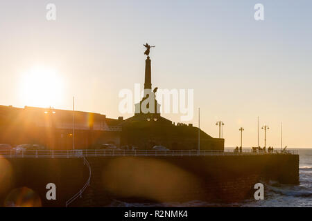 Golden,light,sunset,sundown,over,Aberystwyth,Cardigan Bay,Ceredigion,coastal town,Mid Wales,Wales,Welsh,UK,GB,Great,Britain,British, - Stock Photo