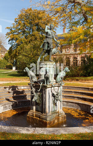 Fountain of Diana of Versailles (Diane Chasseresse) in Jardin de la Reine of Palace of Fontainebleau, France - Stock Photo