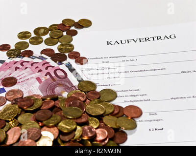 blank purchase agreement and cash 2 - Stock Photo
