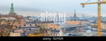 View over Stockholm city on a cloudy autumn afternoon. - Stock Photo