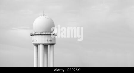 RRP 117 Radar Tower In Public City Park Tempelhofer Feld, Former Tempelhof Airport In Berlin, Germany, Black And White - Stock Photo