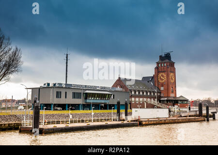 HAMBURG, GERMANY - MARCH, 2018: Navigator Tower at Finkenwerder on the banks of the Elbe river in Hamburg - Stock Photo