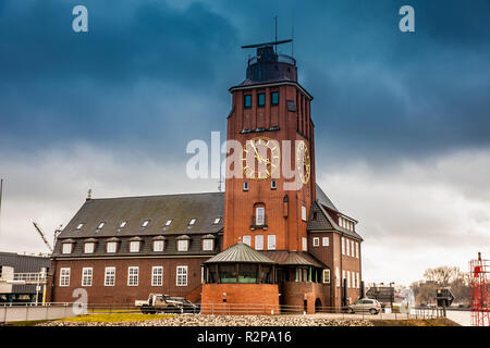 Navigator Tower at Finkenwerder on the banks of the Elbe river in Hamburg - Stock Photo