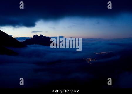 Dusk over Stubaital Valley, Stubai Alps, Tyrol, Austria - Stock Photo