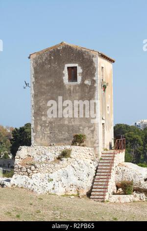 House at Teatro Greco, Neapolis Archeological Park, Syracuse, Sicily, Italy, Europe