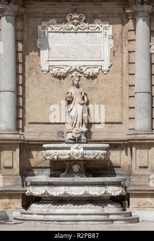 Fountain, Piazza Vigliena or Quattro Canti Square, Palermo, Catania, Sicily, Italy, Europe - Stock Photo
