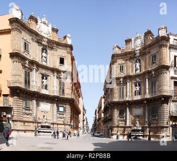 Piazza Vigliena or Quattro Canti Square, Palermo, Catania, Sicily, Italy, Europe - Stock Photo